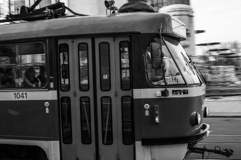 Woman falls under tram