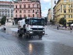 Sprinkle water to cool the historical center of Brno