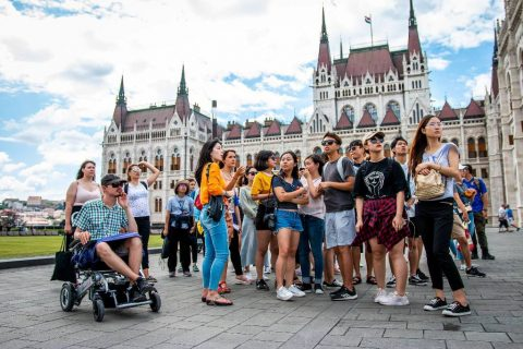 British Student Exploring Brno with his Wheelchair at Summer School