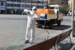 Disinfection Begins of Public Spaces in City Centre